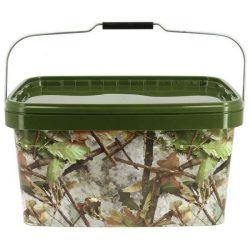 NGT Square Camo Bucket 12,5L (négyzet alakú fedeles vödör 12,5 L camo mintával)